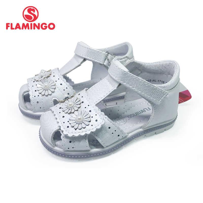 FLAMINGO เด็กรองเท้าแตะสำหรับสาว Hook & LOOP แบนการออกแบบโค้ง Chlid สบายๆขนาด 22-27 หญิง 201S-HL-1716/1717