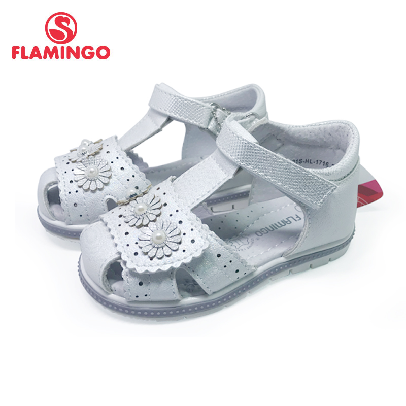 FLAMINGO Kids Sandals Hook& Loop Flat Arched Design Chlid Casual Princess Shoes Size 22-27 For Girls 201S-HL-1716/1717