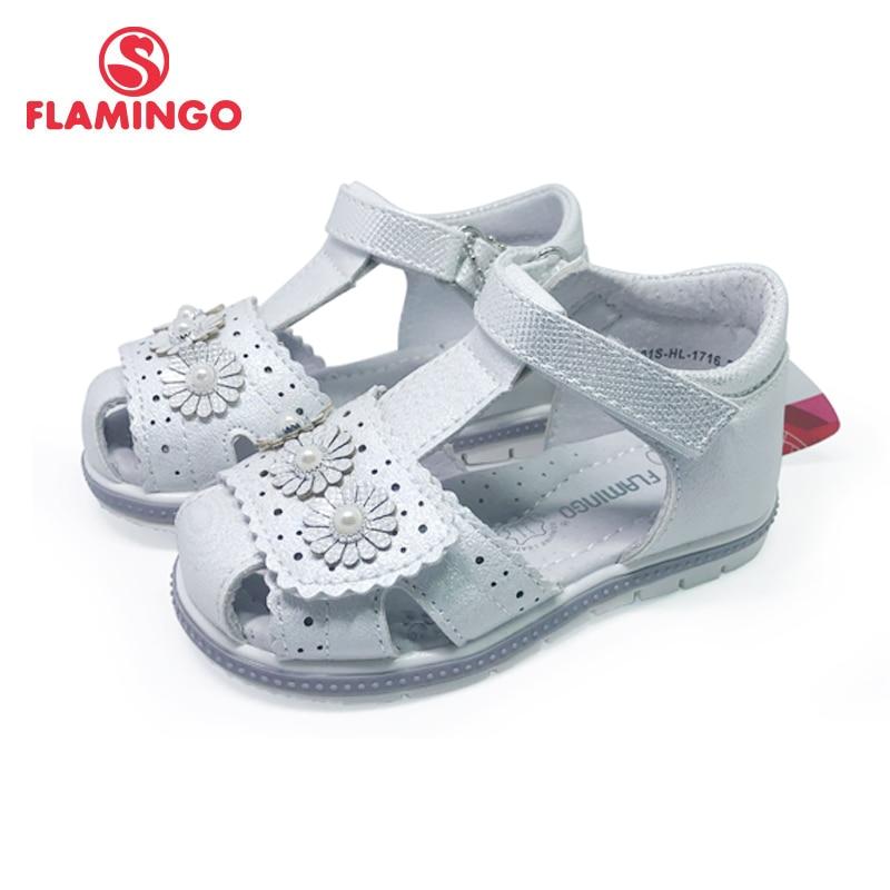FLAMINGO Kids Sandals Hook& Loop Flat Arched Design Chlid Casual Princess Shoes Size 22-27 For Girls 201S-HL-1716/1717