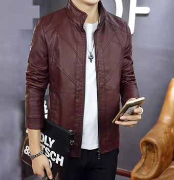 Fashion New Men Stand Collar Faux Leather Jackets Coats Men's Smart Casaul Slim Fits Spring Autumn Overcoats Outwear Size M-4XL