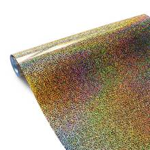 Holographic Heat Transfer Vinyl Glitter HTV for clothing Iron On Vinyl easy cut and weed films washable Sparkle gold on Garmen