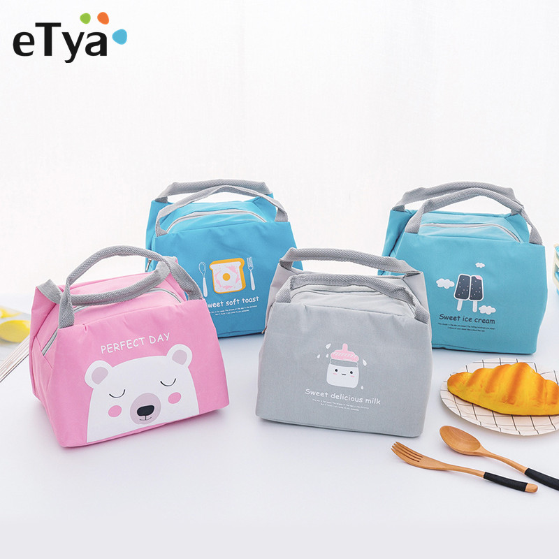ETya Cartoon Cute Lunch Bag For Women Men Girl Kids Children Thermal Insulated Lunch Box Tote Food Picnic Bag Pouch Cases