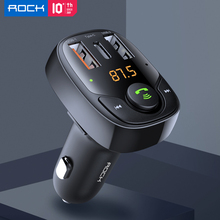 ROCK Car Charger Bluetooth FM Transmitter Handsfree Receiver Audio Music MP3 Player TF Card USB PD Car Charger QC3.0 SCP AFC car mp3 player bluetooth fm transmitter handsfree car kit audio radio voltage monitor tf u disk 2 usb charger audio car music