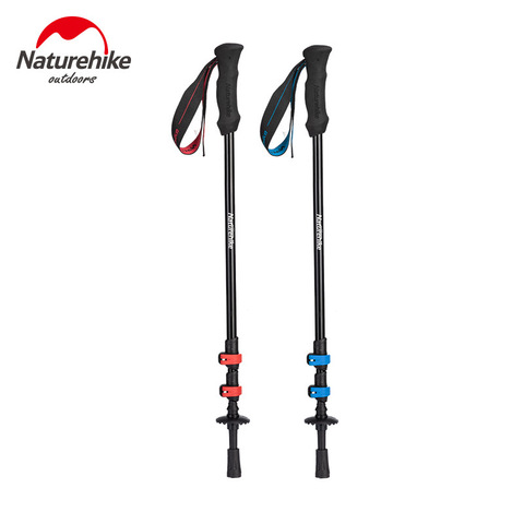 naturehike liga de aluminio ultraleve trekking polo telescopico alpenstock 3 secao portatil caminhadas equipamentos 230g