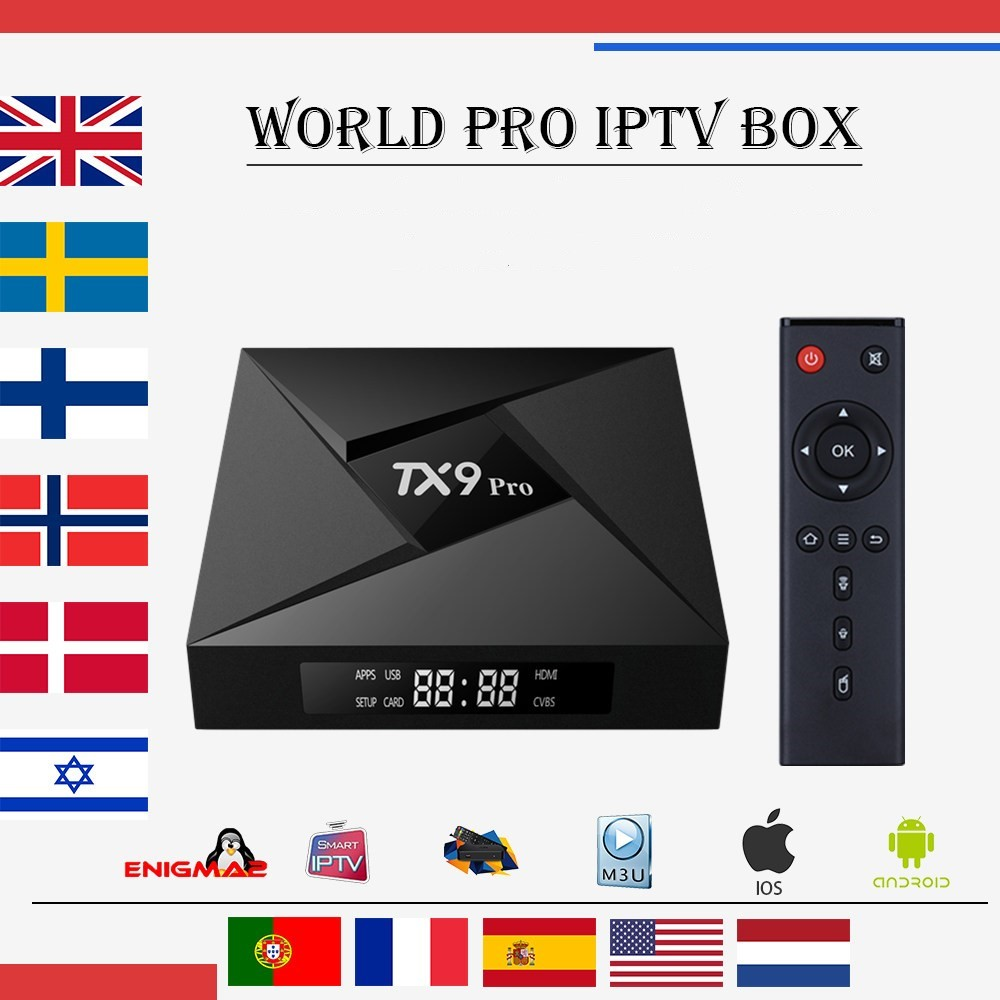 Best World TX9 PRO Android 7.1 3G 32G tv box Amlogic s912 iptv French Italy Germany UK Sweden Smart tv set top box(China)