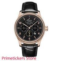 Rosa caixa de ouro 42mm parnis mostrador preto reserva de energia relógio masculino automático mês semana 24 horas|Relógios mecânicos| |  -