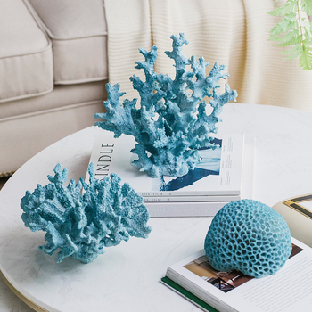 Mediterranean Blue Coral Sculpture Figurine Ornaments Plant Office Home Decoration Accessories Modern Art Resin Decor Craft Gift