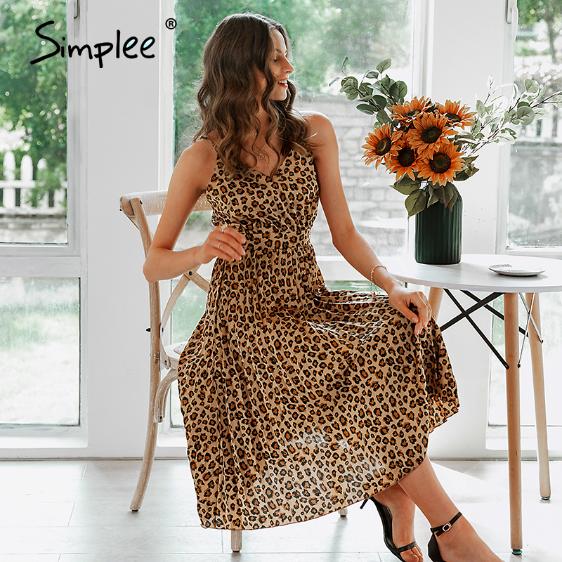 Simplee Sexy v-neck women party dress Elegant spaghetti strap female pleated office dress Solid female pink midi summer dresses 3