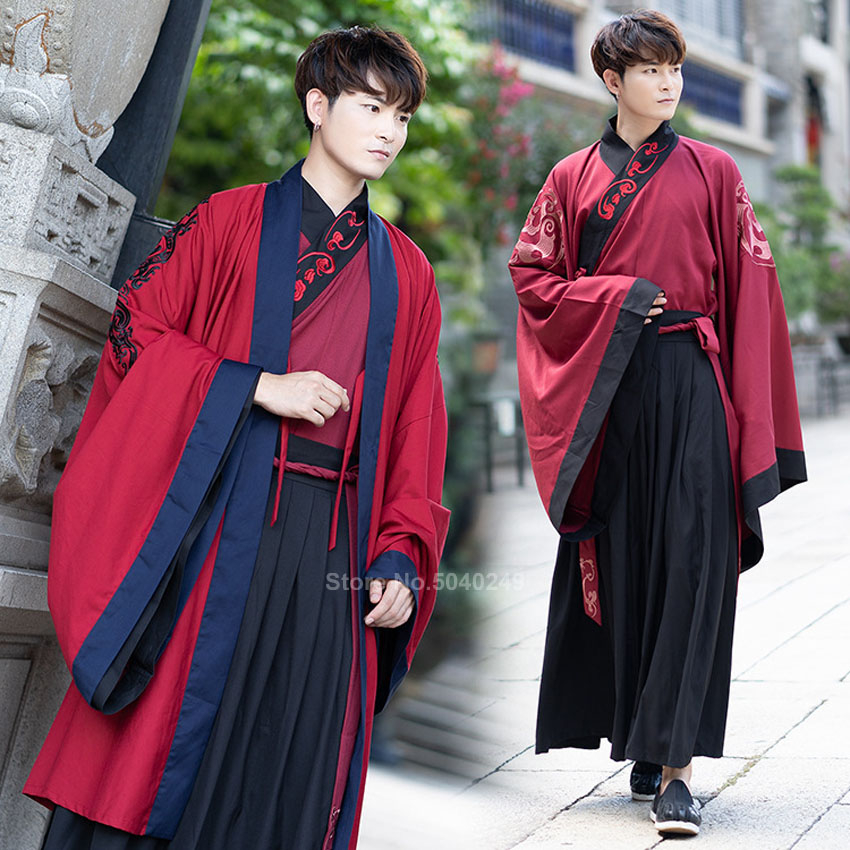 Chinese Style Men Tang Suit Ancient Costume Hanfu Folk Dress Emboridery Long Robe New Year Dance Full Sleeve Vintage Traditonal