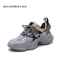 BASSIRIANA 2019 new women's shoes stitching leather horse hair European trend color sneakers comfortable flat shoes