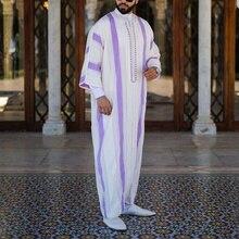 Eid Ramadan Men Muslim Fashion Robe Kaftan Pakistani Linen Stripe Hooded Long Dress Casual Loose Dubai Abaya Islamic Clothing