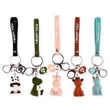Creative Cartoon Geometric Faceted Dinosaur Panda Doll Keychain Couple Car Key Chain Backpack Hanging Gift cute fashion jewelr