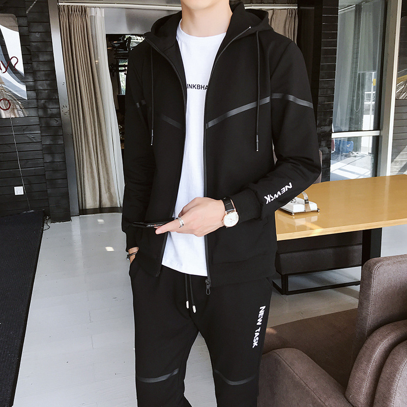 2019 Spring New Style Korean-style Trend Of Fashion Hooded Coat Pants Two-Piece Set Men's Leisure Sports Suit Men's