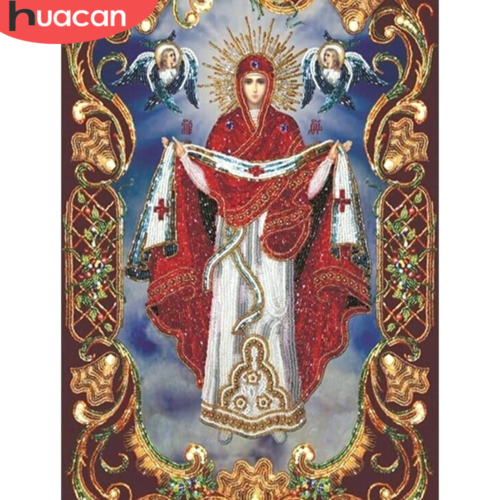 HUACAN Diamond Mosaic Religious Full Square Drill Decoration Home 5D DIY Embroidery Diamond Painting Cross Stitch Religion Icon