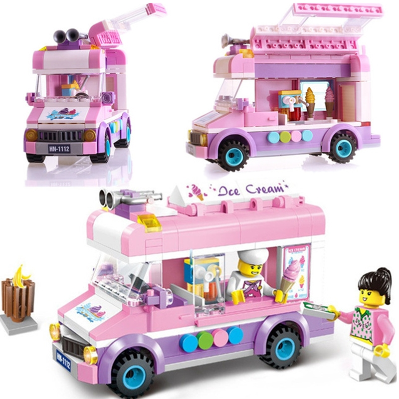 HOT NEW City Friends Princess Ice Cream Car Outing Bus Construction Building Blocks Sets Kit Kid Toy Compatible