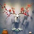 [Hht] nordic 3d cervos cabeça sorte parede pendurado pingente sika veado animal decoração da parede casa sala de estar fundo criativo