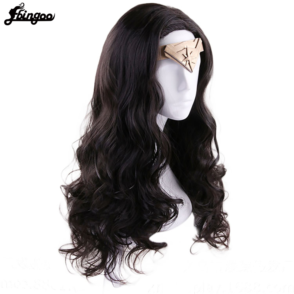 Image 2 - Ebingoo Hair Cap + Headwear + Wonder Woman Diana Prince Side Part Natural Long Body Wave Dark Brown Synthetic Cosplay WigSynthetic None-Lace  Wigs   -