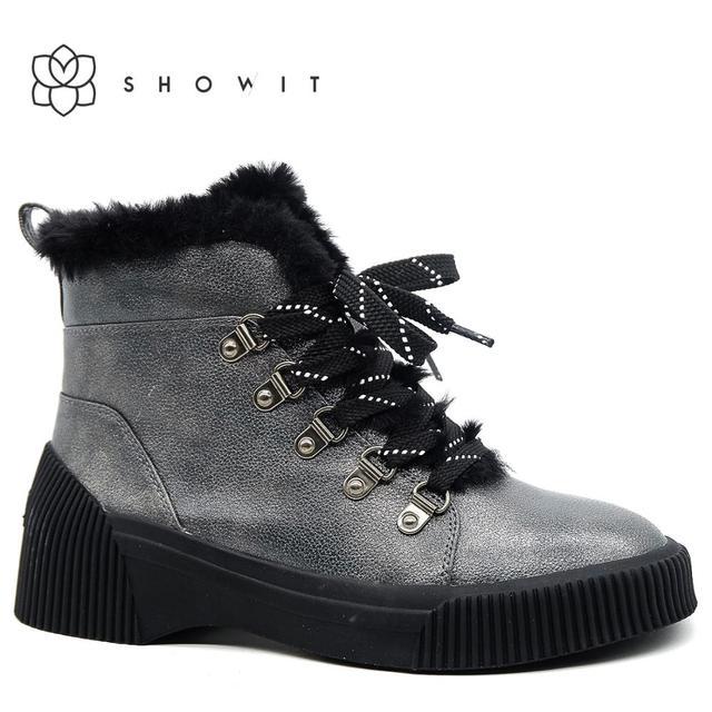 Zwarte vrouwen enkellaarsjes met Fashion warm bont herfst lady lace schoeisel vrouwelijke corporate schoenen met comfort platform zool