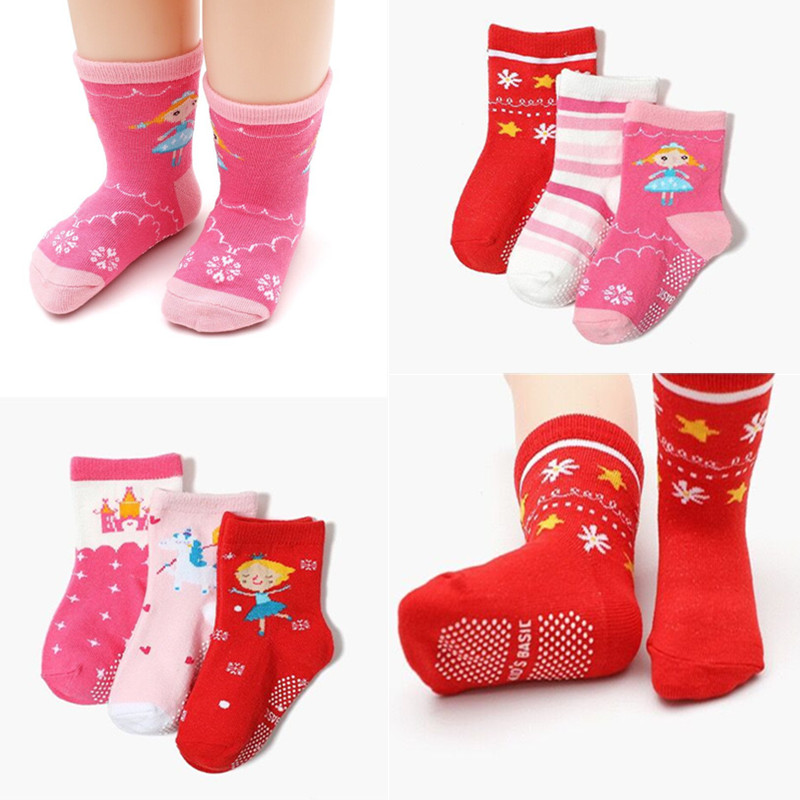 12pairs/Lot Girl Low Cut Floor Kid Sock with Rubber Grips Children's Anti-slip Socks for 1-3Years