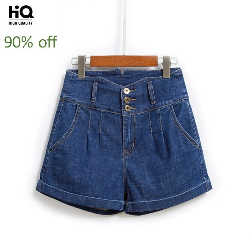 Women Cuffed Denim Shorts Fashions 3 Buttons High Waist Slim Fit Straight Shorts Mujer Casual Preppy Hot Pants Party Short Jeans
