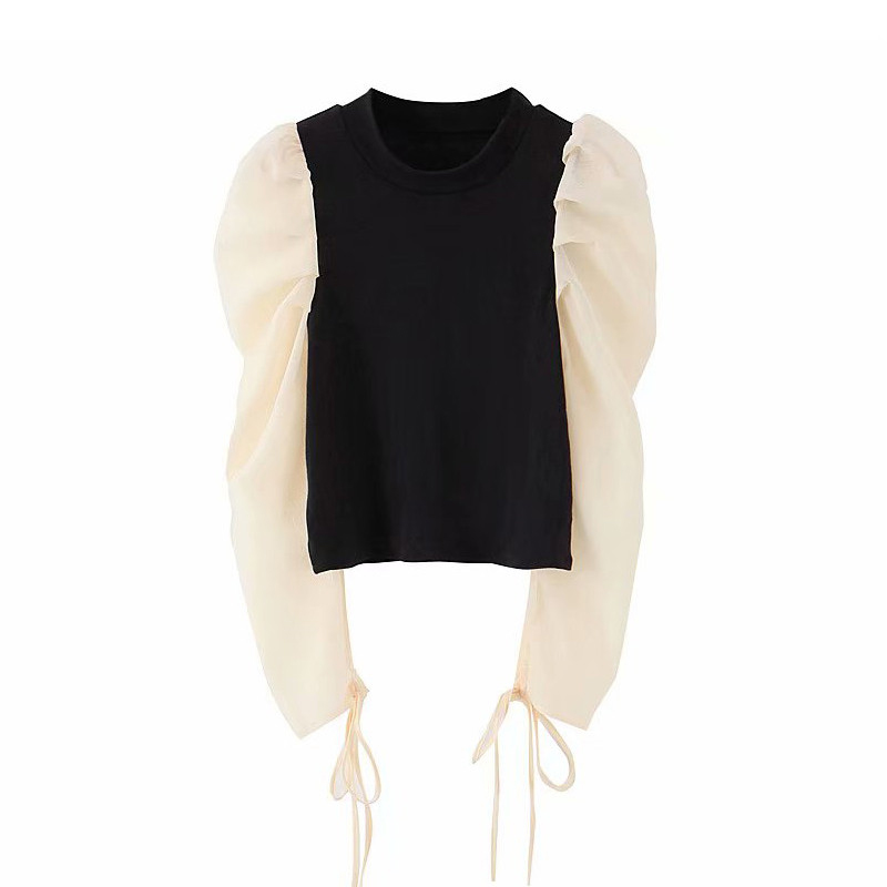 Women Sweet Elastic Patchwork Blouse O Neck Long Puff Sleeve Shirt Female Office Wear Basic Cute Tops Blusas