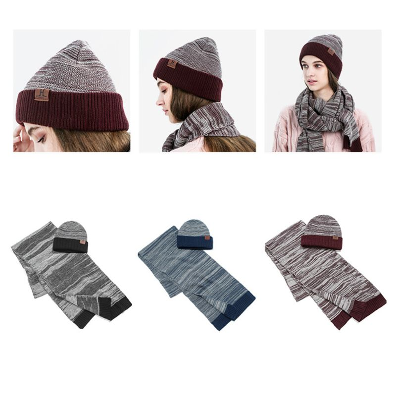 Unisex Winter Knitted Hat Scarf Set Stripe Crochet Cuffed Beanie Cap Neck Warmer