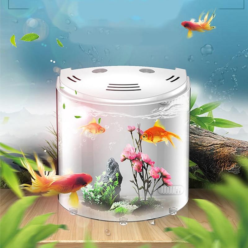 Mini 5L Fish Tank Aquariums USB LED Half Moon Mini Aquarium Acrylic Large Capacity Home Office