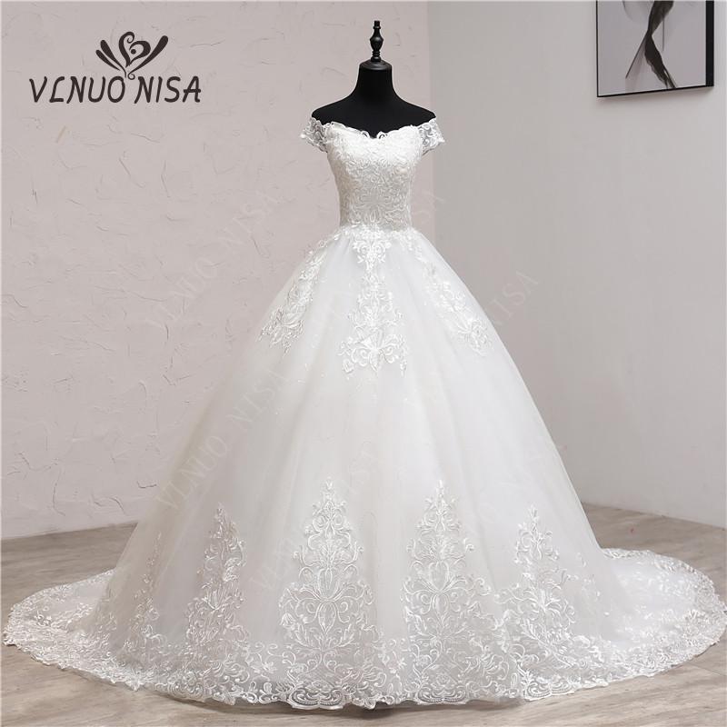 Wedding-Dress Train Custom-Made Bridal Elegant Off-The-Shoulder White Plus-Size Mariage