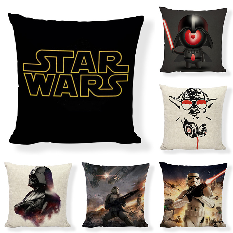 Hot Sale New Cartoon Star Wars Square Cotton Linen Throw Pillow Cover Sofa Cushion Cover For The Kids Home Decorative Cojines