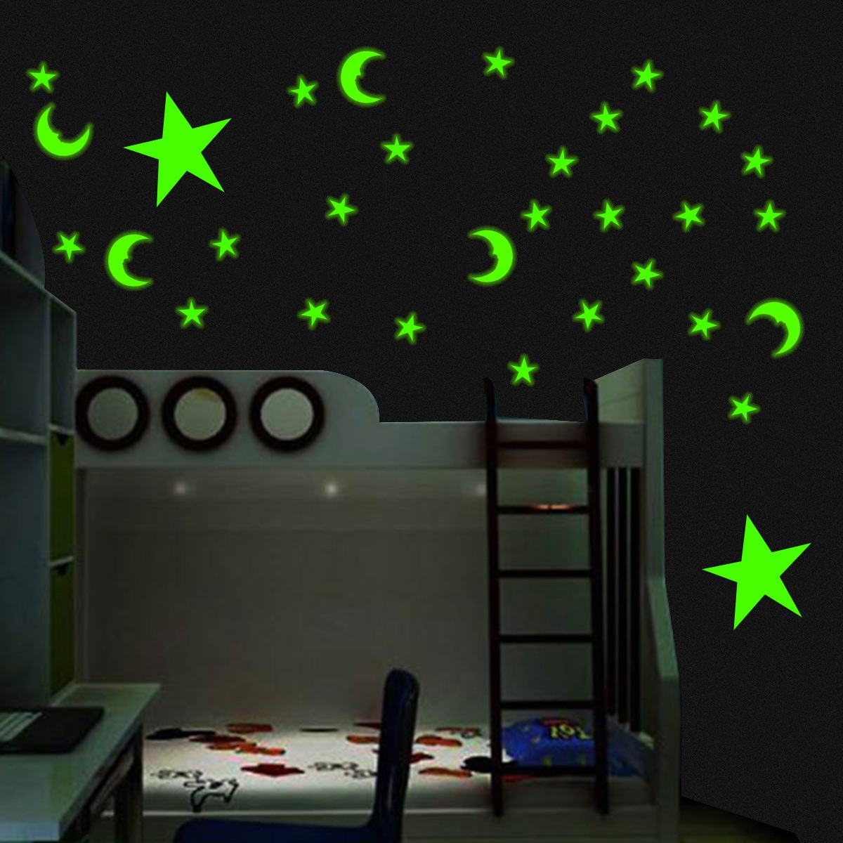 3D Glow In The Dark Glow Stickers Colorful Starry Sky Luminous Fluorescent Star Night Light Switch Wall Stickers For Kids Room