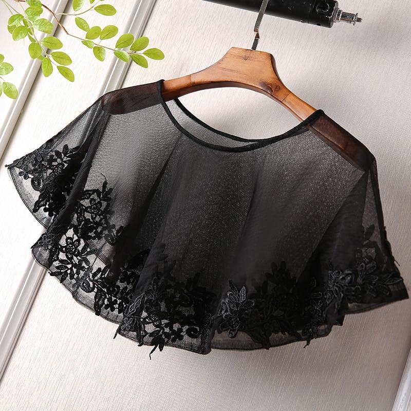 Appliqued Edge Wrap Shawl Black Tulle Shrug Wedding Short Cape For Evening Party Dresses Women Bolero Stole Bridal Mariage Cape