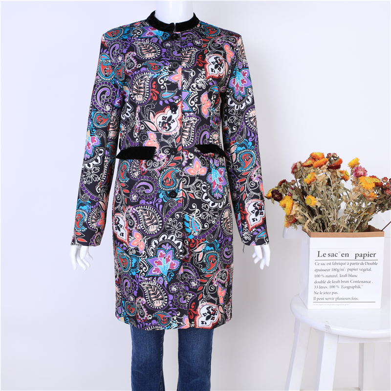 Womens Fashion Medium Length Coat Floral Vintage Casual Slim Fit Pattern Long Sleeve Woman coats and jackets autumn winter 2019