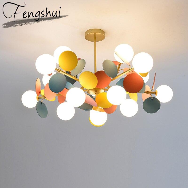 Modern Cartoon Glass Chandelier Ceiling Pendant Living Room Hanglamp For Kids Room Ball Colour Nordic Lighting Kitchen Luminaire