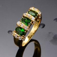 Vintage femme cristal vert pierre anneau 18KT or jaune couleur mince anneaux de mariage pour les femmes de luxe ovale Zircon bague de fiançailles