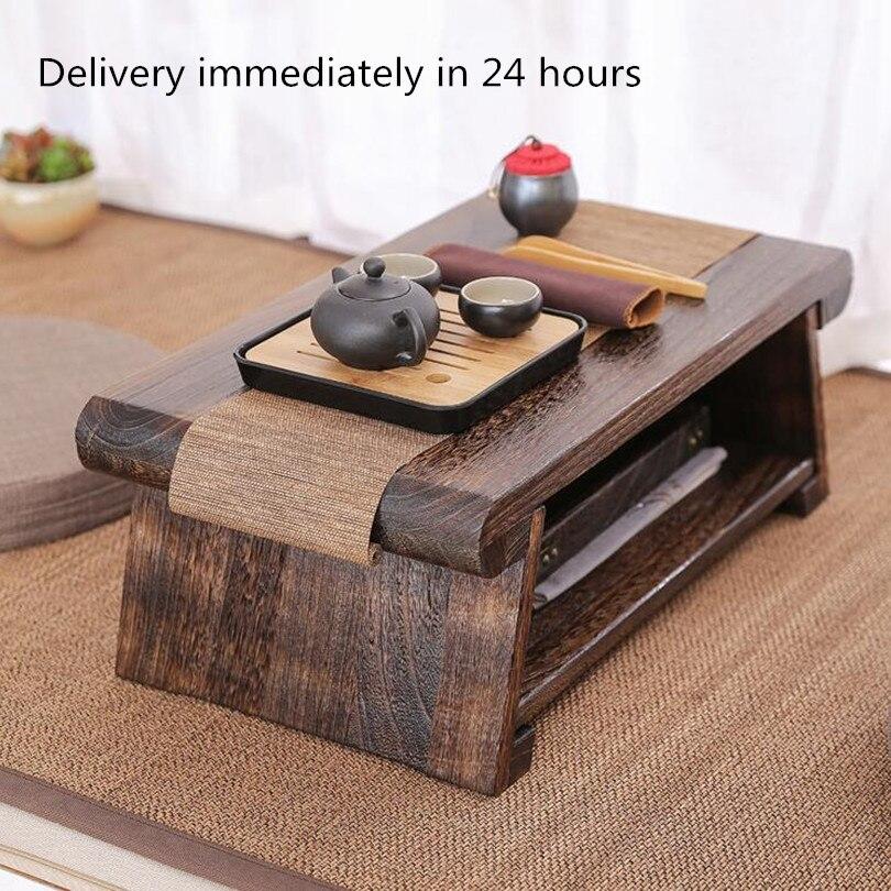 Multi Pliant En Bois de Thé Japonais Pour Meubles De Salon Bas Moderne Minimaliste Compact Tatami Café Table Pliante En Bois