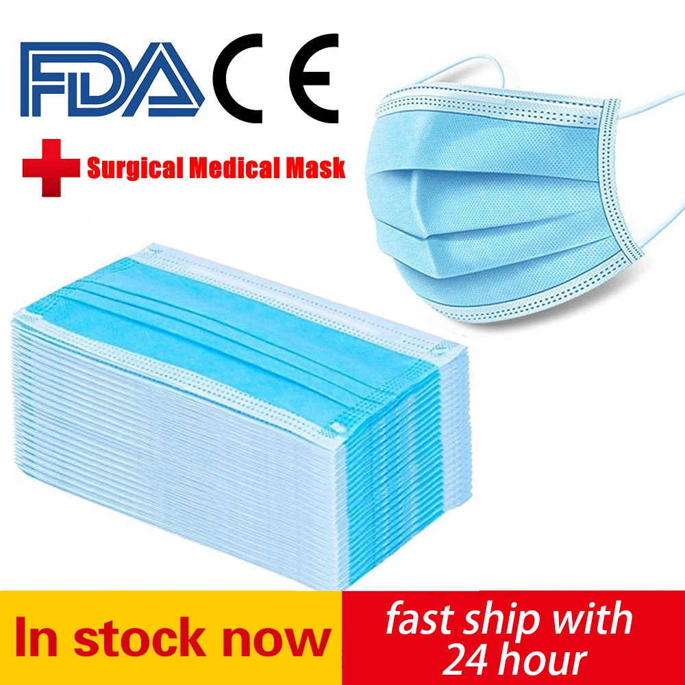 In stock! Medical Disposable Mask 3 Layers Filtration Non-woven Dustproof Facial Protective Cover Anti-Dust FDA CE Surgical Mask