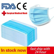 Masques chirurgicaux jetables 3 couches, Non tissés, anti-poussière, protection faciale FDA CE