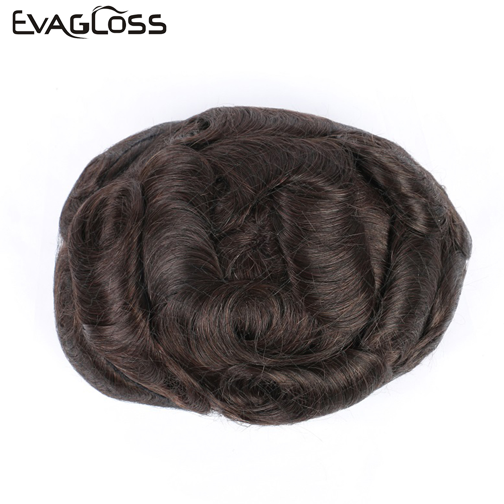 EVAGLOSS Men's Wig Mono Lace With Thin PU Hairpiece Unit For Mens Human Hair Replacement System Male Hair Prosthesis Mens Toupee
