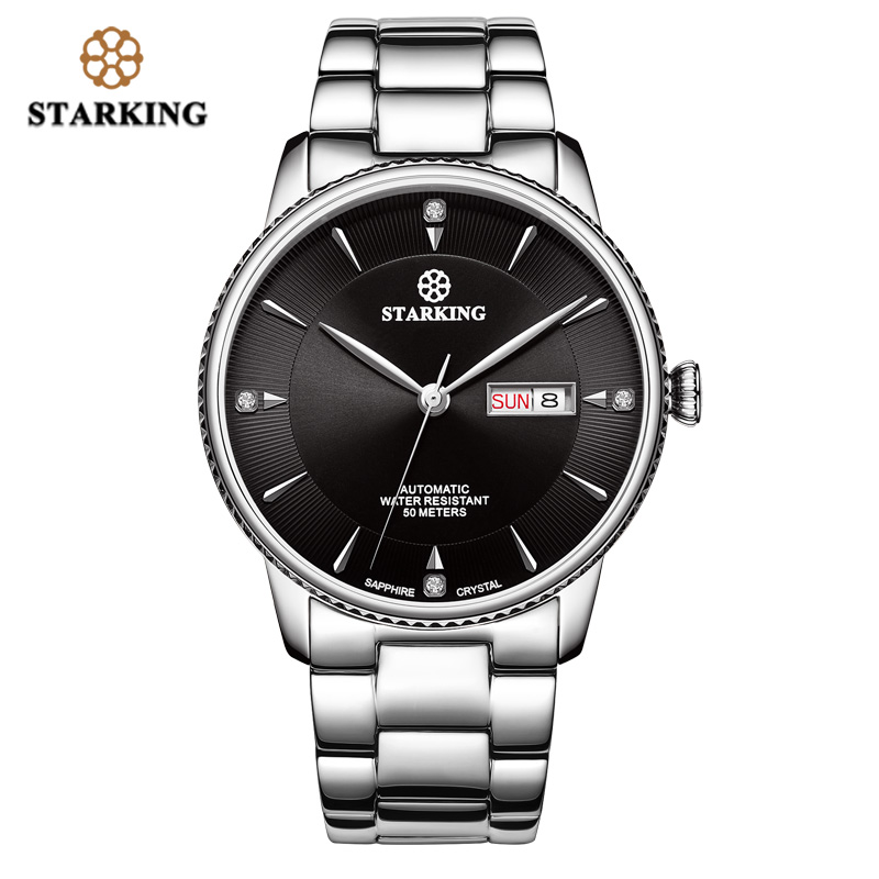 <font><b>STARKING</b></font> Mechanical Watch Men Double Date Dress Fashion Japan Movt Full Stainless Steel <font><b>Automatic</b></font> Male Watches Relogio masculino image