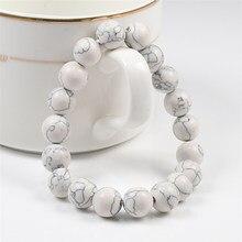 Pulseira de pingente de pedra natural, bracelete com pingente branca 6mm 8mm 10mm para mulheres e homens, joia de oração presente amigo