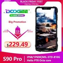 "Doogee S90 פרו מודולרי מחוספס נייד IP68 Helio P70 6.18 ""תצוגת אוקטה Core 6GB 128GB 16MP + 8MP אנדרואיד 9 12V2A Smartphone"