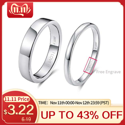 Effie kraliçe 925 ayar gümüş basit çift yüzük severlerin geometrik düğün nişan yüzük güzel takı oyuk kelimeler TSRC1