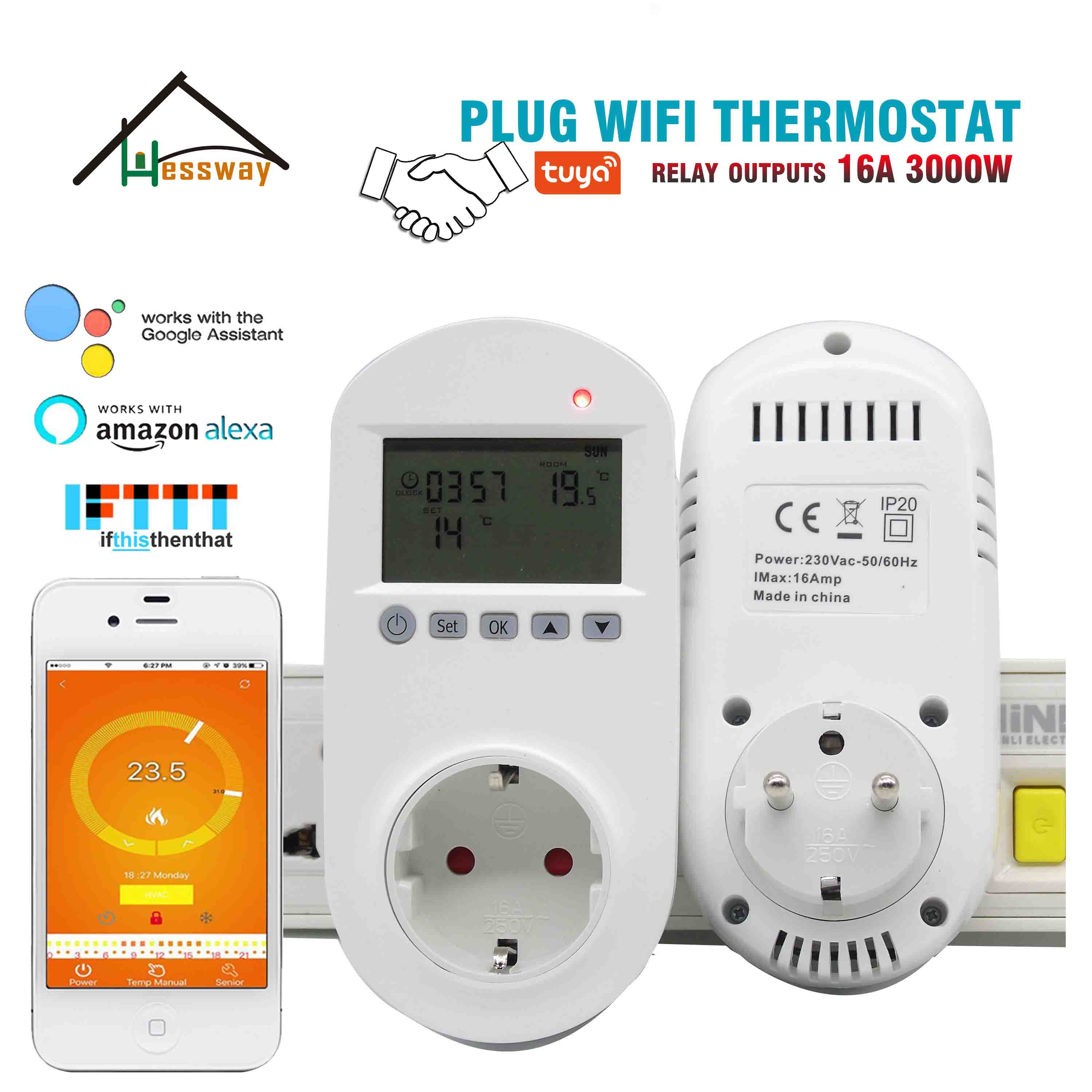 16A Weekly Programmable WIFI Heating Thermostat Eu Plug