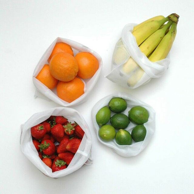 5pcs Multicolor Semi-circular Home Use Fruit and Vegetable Storage Net Bag Reusable Polyester Mesh Drawstring Storage Mesh Bag 2