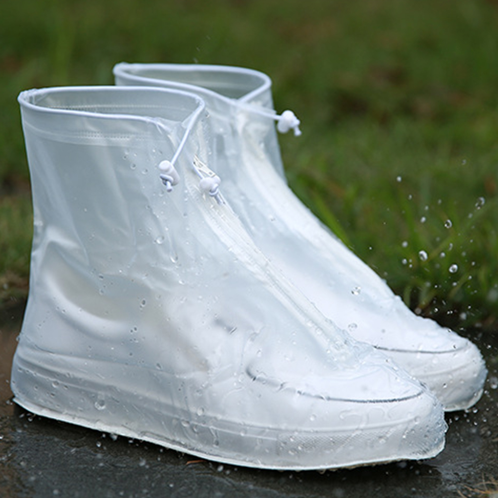 1pair Waterproof Protector Shoes Boot Cover Unisex Zipper Rain Shoe Covers High-Top Anti-Slip Rain Shoes Cases