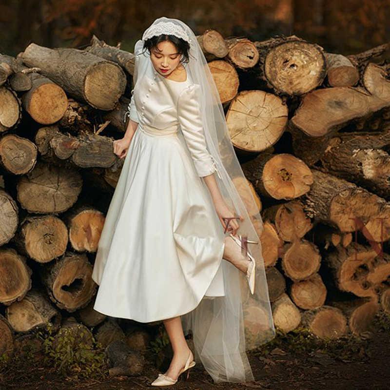 Francuska lekka krótka suknia ślubna 2019 nowa panna młoda retro prosta biała mała sukienka Vestido De Noiva suknia ślubna z długim rękawem