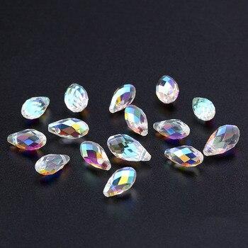 Оптовая продажа 5,5x11 мм, 6,5x13 мм граненые стеклянные бусины в форме капель смешанные цветные хрустальные бусины для браслета