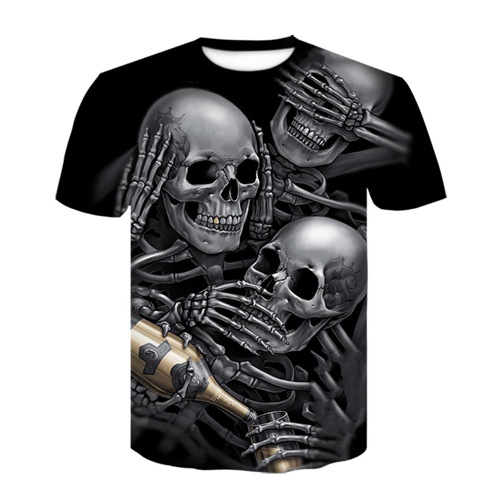 Drink t shirt beer man Skull T shirt Men/Women Gothic Shirts Plus Size 3d print black t shirts summer short sleeve mens tops