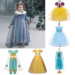 Girls Party Dress Frozen Elsa Child Princess Costumes Children Dress Disney Princesses Dresses Anna Snow Queen Print Birthday