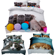 3D Cat Printed Duvets And Bedding Sets Duvet Cover Dog Bed Linen Set Single Size Twin Double Full Queen King Bed Sheet Kid Room